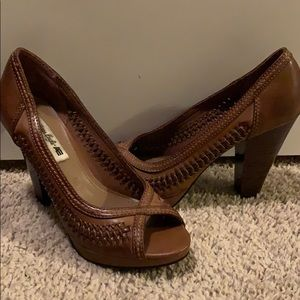 Shoes - Tan Synthetic Leather Heels